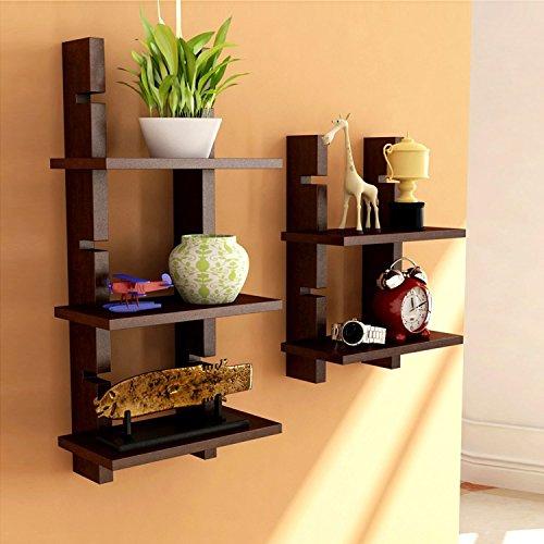 Brown Wooden Ladder Wall Shelves/ Wall Shelf/ Display Rack Shelf