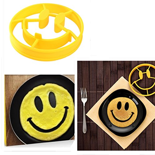 Yosoo Kawai Design Silicone Smile Egg Breakfast Mold Ring Smiley Face Egg Shaper Fried Mould Molds Pancake Sandwich Omelet Novelty Kitchen Cool (Pancake Face Pan compare prices)