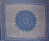 Floral Batik Tapestry-Bedspread-Coverlet-Baby Blue
