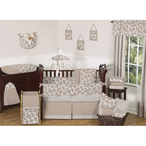 Modern Animal Giraffe Print Neutral Baby Boy Girl Unisex Bedding 9 pc Crib Set by Sweet Jojo Designs