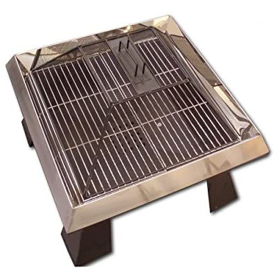 Majestic Flame 10 Brushed Steel Garden Fire Pit Grill by Majestic