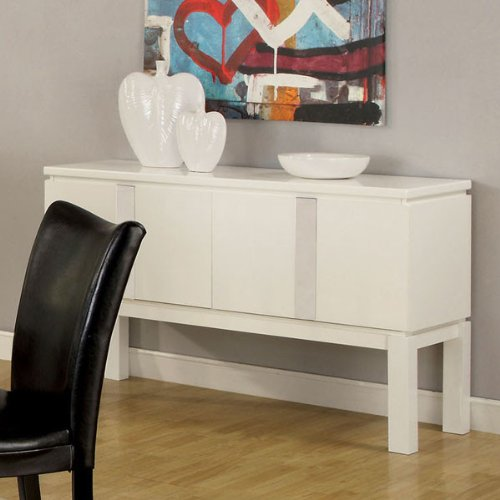 White Gloss Lacquer Finish Buffet Server Cabinet