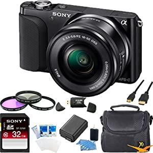 Sony NEX-3NL/B NEX-3N NEX3NL NEX3NLB Compact Interchangeable Lens Digital Camera Kit (Black) Ultimate Bundle with 32GB SD Card, Spare Battery, Filter Kit, Padded Case, HDMI Cable, Card Reader + More