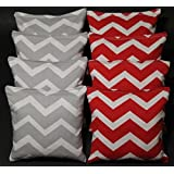 BackYardGamesUSA CORNHOLE BEAN BAGS Chevron Silver Gray & Red Designer Series Party Wedding NEW!