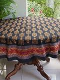 Kilim Noir ~ Designer Black Gold Round Party Table cloths 70 Round