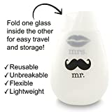 SIP IT! Mr. and Mrs. Unbreakable Stemless Silicone Wine Drinking Glasses - Set of 2 - Unique, Funny, Novelty Cups