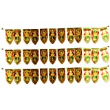 Sai Harshini Plastic Decorative Gaja Lakshmi Mango Leaves Door Hanging (92 Cm X 6 Cm X 13 Cm, Gold And Green, Pack Of 3)
