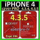 VmobiWorld - CARTE SIM DEBLOCAGE TURBO GEVEY PRO DÉBLOQUER VOTRE IPHONE 4, iOS toute version 4.1, 4.2, 4.2.1, 4.3, 4.3.1, 4.3.2, 4.3.3, 4.3.4 et 4.3.5 - NON DECOUPE de votre carte sim
