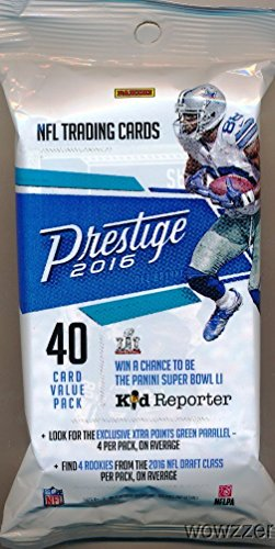 buy 2016 Panini Prestige NFL Football Awesome EXCLUSIVE Factory Sealed JUMBO FAT PACK with 40 Cards! Look for Rookies & Autographs of Carson Wentz,Jared Goff,Ezekiel Elliott & All the Top NFL Draft Picks for sale