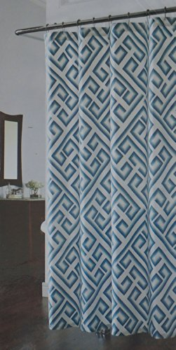 Richloom Teal Blue And White Geometric Kronos Shower Curtain By Home Fashion