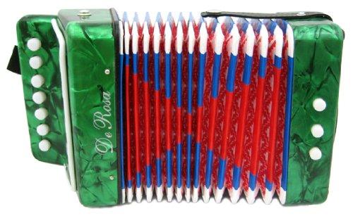 DeRosa Childrens Green 7 Key Toy Accordion Squeeze Box