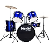 Mendini MDS80-BL Complete Full Size Senior 5-Piece 6-Ply Birch Wood Blue Drum Set with Cymbals, Drumsticks and Throne