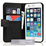Yousave Accessories iPhone 6 Case Black PU Leather Wallet Cover