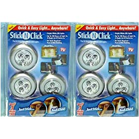 Stick And Click Led Push Lights (6 Pk) 
