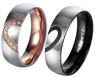 His and Hers Real Love Heart Promise Ring Stainless Steel Couples Promise Ring