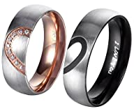 "AnazoZ Jewelry His & Hers For "" Real Love "" Heart Promise Ring Stainless Steel Couples Wedding…"