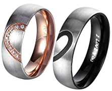 "buy Hers & Women'S For ""Real Love"" Heart Promise Ring Stainless Steel Wedding Engagement Bands 6Mm Us Size 6"