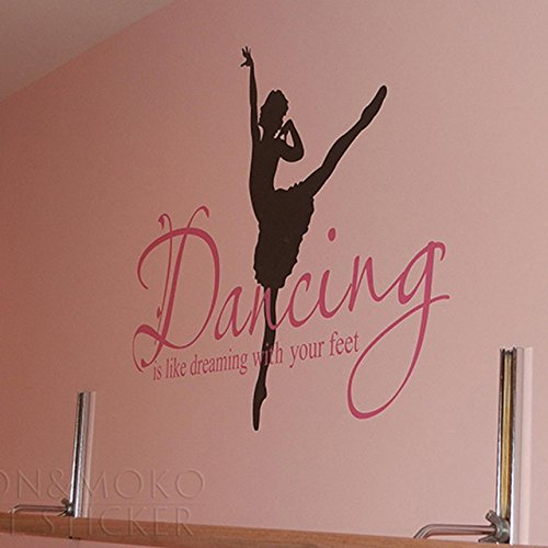 Ballet Ballerina Dancing Dream parete vinile adesivo decalcomania murale Wallpaper scritte parole citazioni arte bambini Baby girl Camera 60x83cm