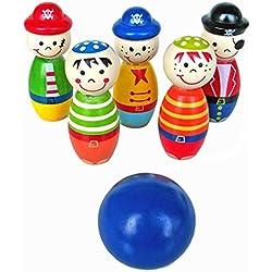 Kleinkindspielzeug Longra Bowlingkugel Holzspielzeug pädagogische interaktive Holzspielzeug Baby Hands-on Fähigkeit entwickeln Kinder Geburtstagsgeschenk Sport Fitness Spielzeug