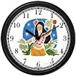 Polynesian Girl or Woman Hula Dancing Dancer - Hawaiian Theme Wall Clock by WatchBuddy Timepieces (Black Frame)