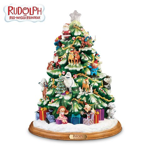 rudolph the red nosed reindeer illuminated tabletop christmas tree by the bradford exchange