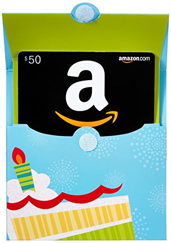 Amazon.com $50 Gift Card in a Birthday Reveal (Classic Black Card Design)