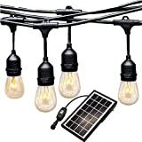 Ashialight Solar LED Outdoor String Lights with Hanging Sockets -40ft,13000mah Solar Panel,Motion Sensor-Dusk to Down,Low Voltage LED Bulbs,Waterproof for Patio Garden Porch Backyard Party Deck Yard (Color: Black, Tamaño: solar string lights-40ft-10 bulbs)