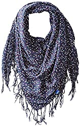 Keds Women's Square Scarf with Fringe, Peacoat Ditsy Floral, One Size