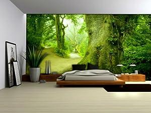 Wallpaper mural 39 39 forest 39 39 fleece photo wallpaper wall for Amazon mural wallpaper