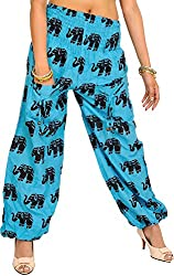 Exotic India Yoga Trousers with Printed Elephants and Front Pockets - Color River BlueGarment Size Free Size