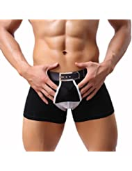 Imported Sexy Color Block Bulge Pouch Boxer Briefs For Men Knickers Black L