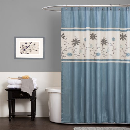 Lush Decor Monica Shower Curtain, 72-Inch by 72-Inch, Blue