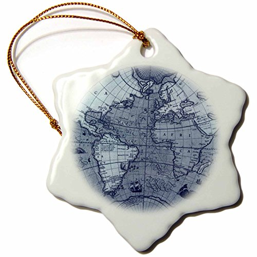 3dRose orn_108835_1 Vintage Globe World Map-Snowflake Ornament, Porcelain, 3-Inch
