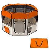 "60"" Pet Dog Kennel Fence Soft Playpen Exercise Folding Crate W/Bag Zip Orange"