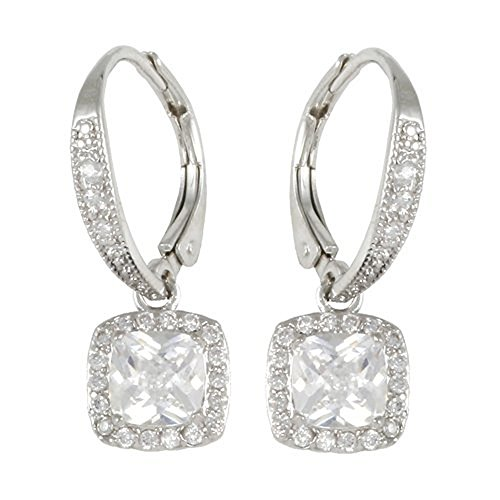 Rhodium Plated Leverback Earring (1) 6mm square white CZ (18) 1.35mm (3) 1.5mm round white CZ's