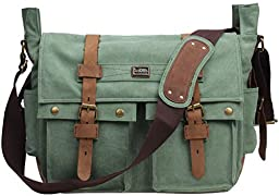Iblue Vintage Canvas Cross Body Laptop Messenger Bag College Bookbags for Men Womens Leather#2138( lake green ,XL)