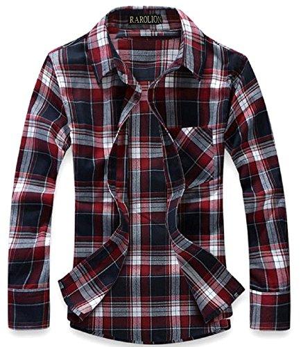 (ラロリオン)RAROLION ギンガムチェック ネルシャツ 長袖 メンズ(赤 紺 L)