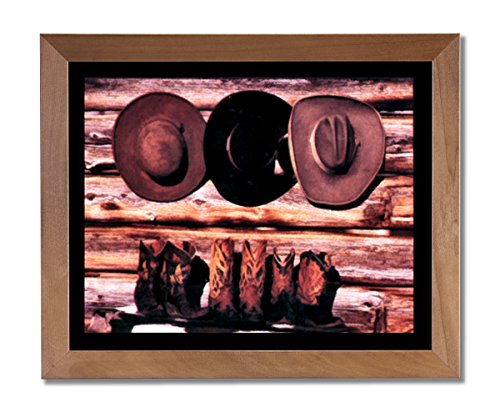Old Cowboy Boots And Hats Western Rodeo Wall Picture Honey Framed Art Print (Rodeo Pictures compare prices)