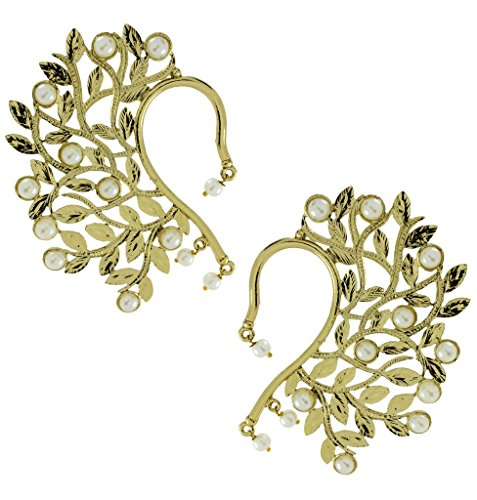 The Jewelbox Wild Flower Filigree Pearl Antique Gold Plated Ear Cuff Pair Earring For Women