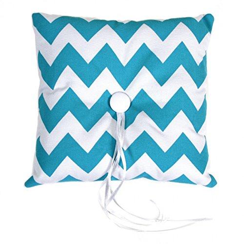 Koyal Wholesale Chevron Ring Bearer Pillow, 7-Inch, Diamond Blue Aqua front-991750