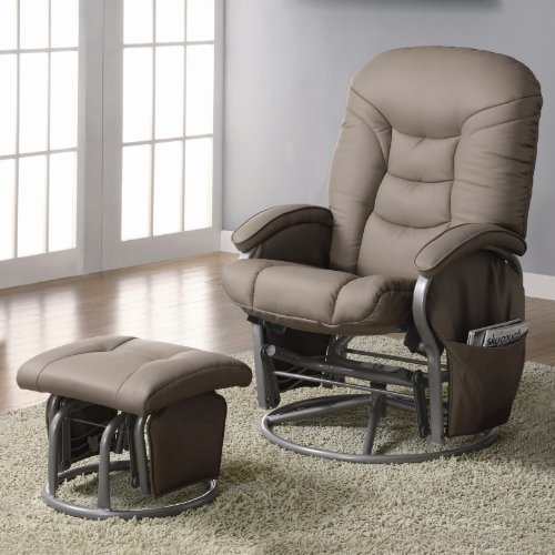 2pc Modern Swivel Rocking Gliding Recliner Chair With Ottoman In Plush Leatherette Coaster Furniture 600228 Check Price Vitalcxcxzarov