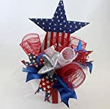Patriotic floral arrangement, July 4th Centerpiece,red white blue silk flower arrangement, memorial day, decor