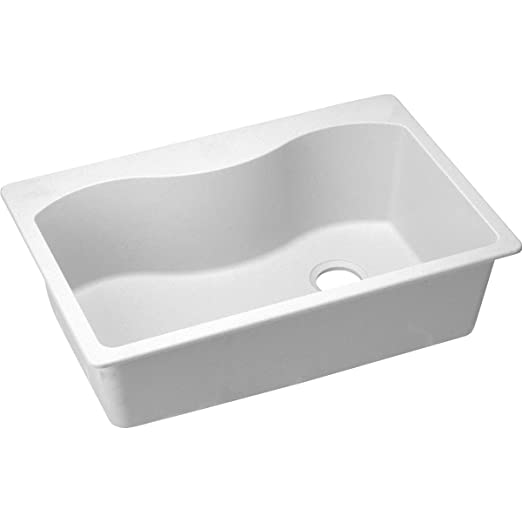 Elkay ELGS3322RWH0 Harmony 22-Inch x 33-Inch Single Basin Drop-In Granite Composite Kitchen Sink, White