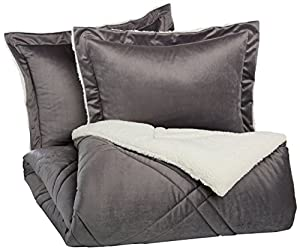 Pinzon Plush Hypoallergenic Square Stitch Comforter Set - Full/Queen, Grey