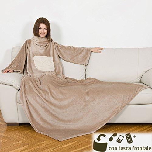 Kanguru © Deluxe Cream Decke Farbe creme beige Größe 140 x 210 cm XXL Ultra Soft Kuscheldecke Sofadecke Ärmeldecke mit Brusttasche und Ärmeln