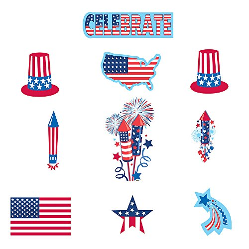 [30-Piece Patriotic Paper Cutout Party Decorating Kit] (Elephant Bunting Costumes)