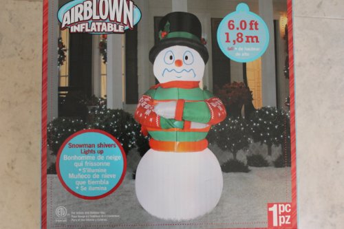 Gemmy Airblown Inflatable 6 Ft Shivering Snowman That Lights Up! front-829009