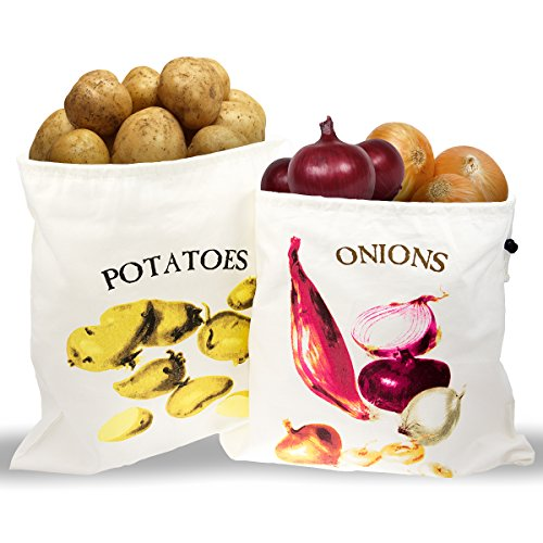 2 Storage Bags For Potatoes & Onions Fresh Vegetables Drawstring Kitchen Cotton (Onion Storage Container compare prices)