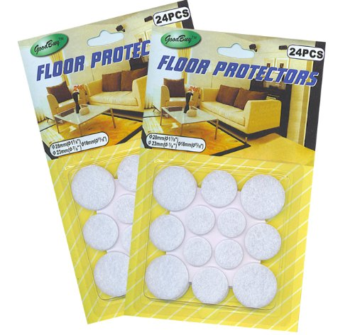 48 Felt Floor Protectors - 8 each of 3 sizes (two pkgs.of 24 ea. large, medium, small)