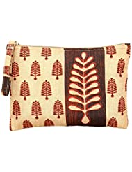 "Ethnic Print Faux Silk Zip Pouch Bag - Waterproof Polyester Fabric - 6"" X 9"" - Made In India"